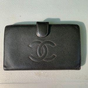 Chanel Black Caviar Leather Double CC Long Wallet